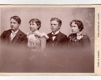 Phillipsburg Kansas Photo, Antique Cabinet Photo, 2 Men Women, Cobb & Locke Photographer, Curly Hair High Collar Dress, 1890s Cabinet Card