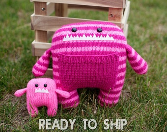 Pink Mommy and Baby Hand Knit Monster Stuffed Animals.