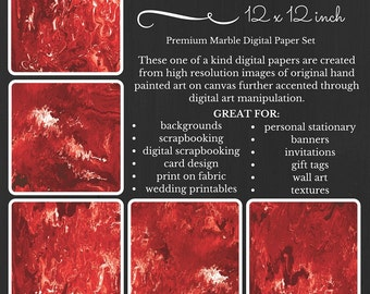Red Earth - Premium Digital Paper Pack - Marble Red and White Swirl - Printable Digital Paper Download Scrapbooking Paper Abstract Design