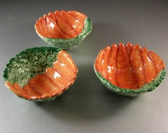 Fitz and Floyd Vegetable Garden Carrot Bowls / Set of 3 /  1991