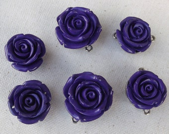 Purple Rose Cabochon lot  / Jewelry supplies / salvage / Findings / Mixed media / craft supply / embellishments / destash / upcycle