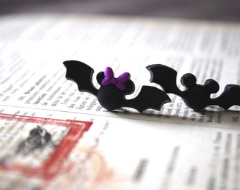 Halloween Mickey Mouse Bat Earrings -- Mickey and Minnie Mouse, Mouse Ears, Halloween Earrings
