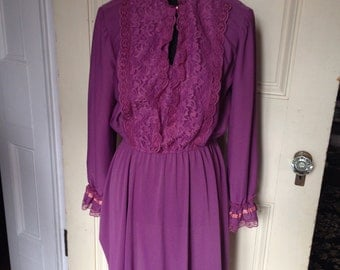 80s Does Victorian Vintage Dress Mauve or Purple