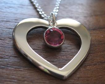Handmade Silver Heart with Swarovski Charm
