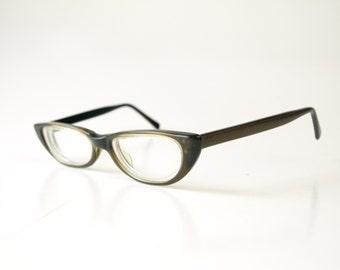 Vintage darkest brown black plastic American Optical women's eyeglasses retro petite cateye frames glasses 50s 60s mid century mod