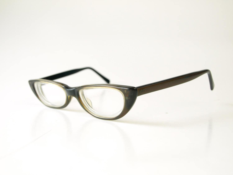 Vintage darkest brown black plastic American Optical women\'s ...
