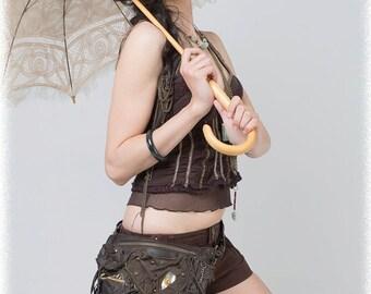 Leather bag, leather hip bag, leather money belt, leather boho bag, leather purse,  leather burning man bag