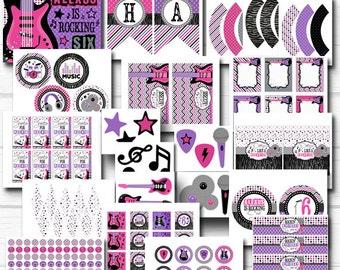 "Personalized Diy ""Rockstar Girl"" Birthday Digital Printable Party Package"