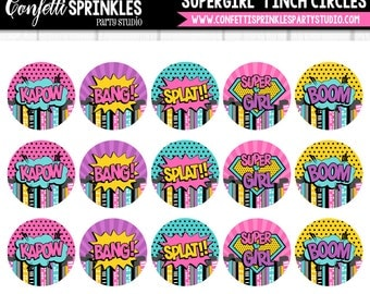 """INSTANT DOWNLOAD Superhero """"Supergirl"""" Pink, Purple, Blue, and Yellow 4x6"""" 1"""" Inch Bottle Cap Image/Digital Collage Sheet"""
