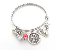 CHEER GIFT, CHEER Bracelet, Cheerleading Graduation Gift, Gift for Graduates, Senior Gifts, Class of 2016, Cheer jewelry Initial Bangle