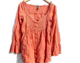 Crinkle GAUZE Mexican Lace Crochet Panel Peasant Top