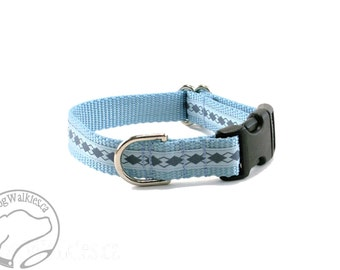 "Pale Blue and Grey Argyle Dog Collar - 3/4"" (19mm) Wide - Choice of style and size - Martingale or Quick Side Release"