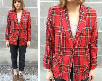 1980s red plaid fitted blazer