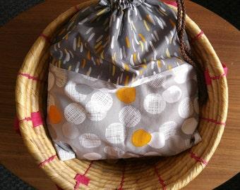 Large Drawstring Bag, Yoga Bag, Swimsuit Bag, Carryall Bag, Gray, Orange