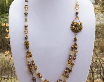Long Pearl, Crystal and Citrine Necklace featuring Vintage Brass Brooch 3615