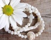 3 shell bracelets , cross bracelet, bohemian jewelry, beach boho bracelets , beachcomber mermaid jewelry
