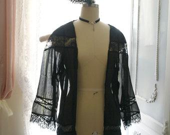 Rocker Chic Goth boho Black Lace Chiffon Kimono Cardigan Jacket Gothic Steampunk