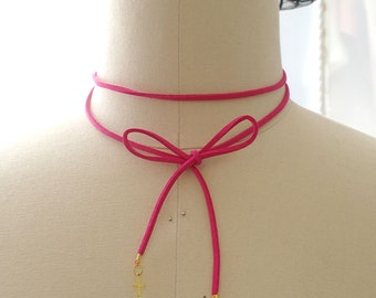 Statement Necklace Choker Hot Pink Suede Gold Cross Bow Choker Handmade Punk Rock , goth gothic Lolita cute steampunk