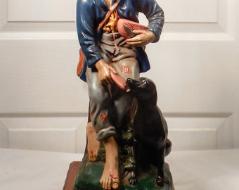 Barefoot Boy & Dog Ceramic Table Lamp Hand Made Hand Painted