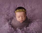Rainbow Newborn Headband - Newborn Photo Prop: Rainbow Newborn Tieback, Newborn Flower Crown, Newborn Halo, Organic Photography Props, Moss