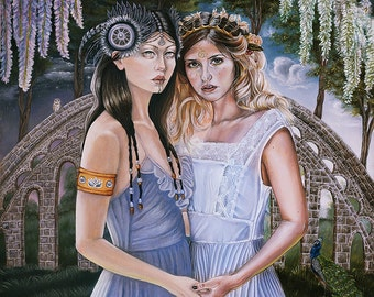 Limited Edition Goddess Sisters in Surreal Magical Garden Fantasy A3 Art Print