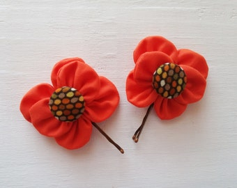 Bobby Pins with Orange Fabric Flowers and Covered Button Centers