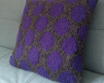 Throw Pillow, Cushion, Hand Knitted, Purple, Polka Dots, Spots, UK Seller, Grey, Teenager's Room