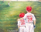 """Baseball, Children, Sports, """"Someday...Little Brother"""" choose paper or flat canvas Prints  Laurie Shanholtzer"""