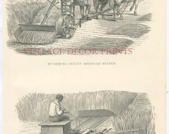 Antique Print of Agricultural Machinery. Rare 1856 Black and White Victorian Illustration Showing American Reaping Machines.