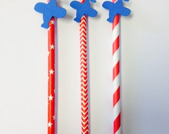Airplane Straws ~ Blue / Red ~ Red / Light Blue ~ Airplane Party ~ Airplane Decor ~ Set of 12