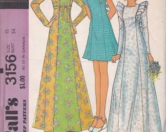 1970s Princess Seam Dress Pattern McCalls 3156 Size 12