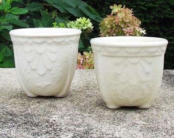 Vintage small plant pots, set of 2 Art Deco planters, off white pots for small plants, ceramic indoor plant pots, small pottery planters