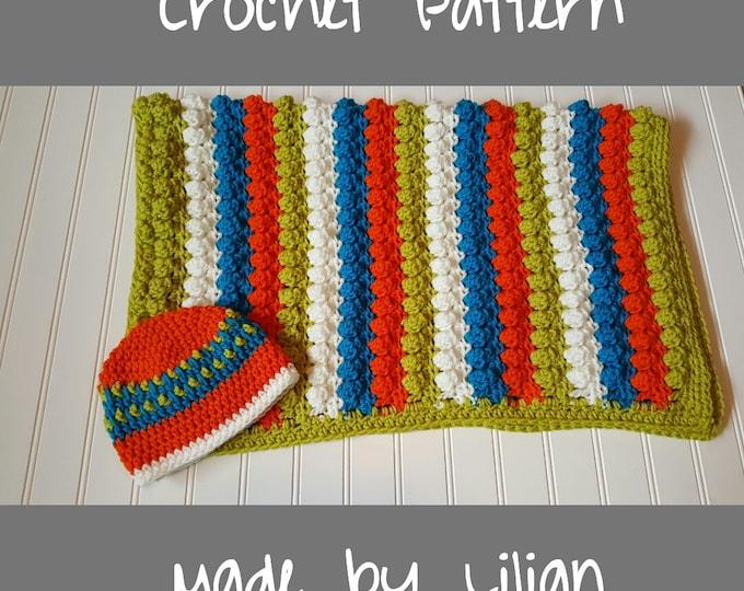 Afghan pattern, Easy Crochet Baby Blanket Pattern, Popcorn stitch baby blanket, Baby Blanket & baby hat Pattern, Newborn photo prop blanket