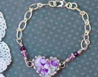 Bracelet, Broken China Jewelry, Broken China Bracelet, China Heart, Violet Chintz, Sterling Silver Chain, Soldered Jewelry