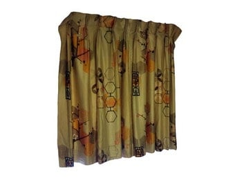 Vintage Curtains 1950s -Vintage Mid Century Modern Drapes, Pleated Curtain Panels, Asian Geometric Inspired, Upholstery Fabric Retro Drapery