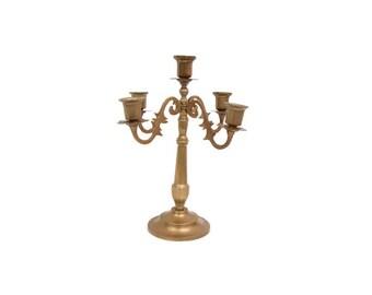Vintage Brass Candelabra Candle Holder 5 Taper Holder Centerpiece Table Decor Adjustable Arms Candlestick Holder