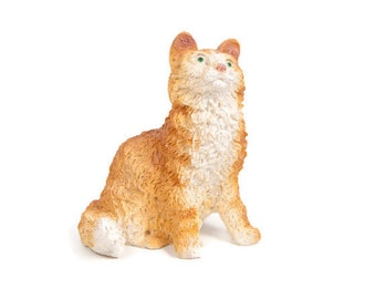 Vintage Orange Tabby Cat Figurine Resin Kitten Long Hair Cat Sculpture Hand Painted Animal Hand Cast Feline