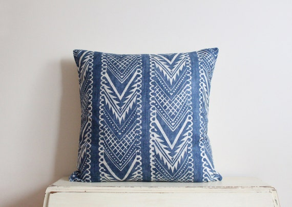 "Block printed chevron pillow cushion cover 22"" x 22"" in indigo"