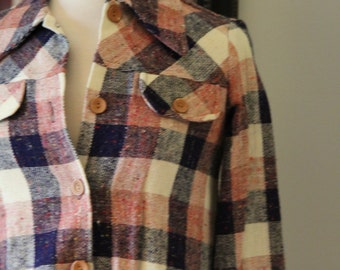 Vintage Womens Sears JR Bazaar Navy and Pink Plaid Button Down Shirt Jacket Small
