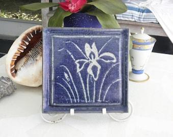 "1983 Raggott Sanibel Hand Painted Deep Blue & White Wild Iris 12"" Square Wall Decor, Pottery Decoration"