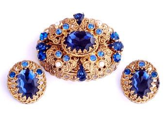 West Germany Sapphire Blue Rhinestone Brooch Earring Set  Pristine