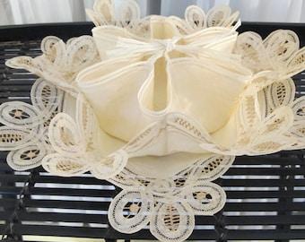 Vintage 60's ivory Belgian battenburg lace divided bread roll server