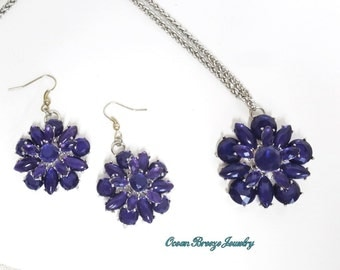 Beautiful Sparkling Deep Amethyst Colored Glass Flower Pendant and Matching Earrings
