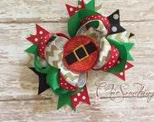 Christmas bow, Santa bow, holiday bow, Christmas headband, Christmas hairbow, first Christmas, Santa headband, Santa bows, photo prop bow