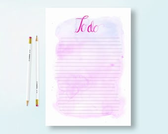 A4 Watercolour To-Do List - Pink - Printable Download