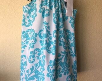 Pillowcase Dress - SUMMER DRESS -  5T - Aqua Blue Damask - Spring - Toddler Girls - Sundress - Ready to ship - EmmaJaneCompany