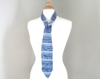 Hand Knit Necktie, Blue Striped, Unique Unusual, Wedding Party Office, Men & Women, Father's Day