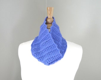 Merino Wool Cowl Scarf, Neck Warmer, Periwinkle Blue, Hand Knit, Office Scarf, Circle Loop Scarf