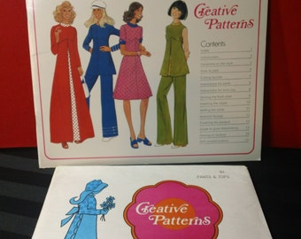 Pants and Tops ~ Creative Patterns Vintage 1975 Softcover Instructional Sewing Booklet and Uncut Pattern