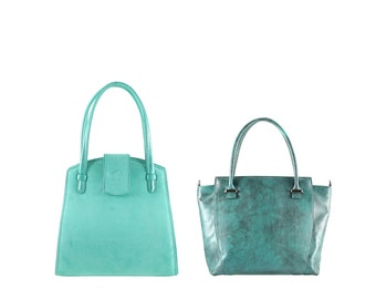 Suede leather shoulder bag MARLA, ADA small // green turquoise aqua mint (Italian calf skin) - FREE shipping, unique